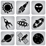 Space icons Stock Photos