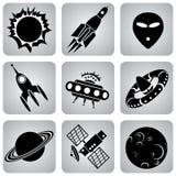 Space icons Stock Photos