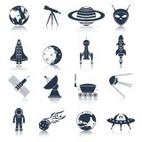 Space icons black Royalty Free Stock Photos