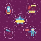 Space Icons in Cartoon Style Collection Royalty Free Stock Image