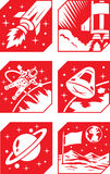Space Icons. Different icons of the space program Stock Photography