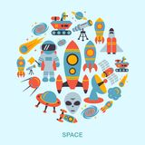 Space icons flat Royalty Free Stock Photo
