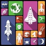 Space icons flat Stock Photos