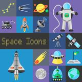 Space Icons Flat Royalty Free Stock Images