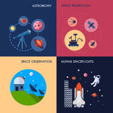 Space Icons Flat. Space design concept set with astronomy technology and observation human spaceflights flat icons isolated vector illustration Stock Images