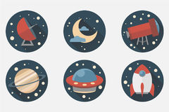 Space icons. Flat design Royalty Free Stock Images