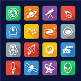 Space Icons Flat Design Stock Image