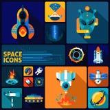 Space icons flat set Royalty Free Stock Photos