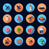 Space Icons Flat Royalty Free Stock Photos
