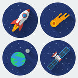 Space icons with long shadow. Rocket, comet, satellite, the Earth with the Moon. Colored illustrations. Vector set in flat style Royalty Free Stock Photography