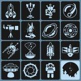 Space Icons Monochrome Stock Photo