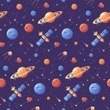 Space icons seamless pattern. Space exploration background. Space icons seamless pattern. Space exploration purple background royalty free illustration