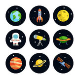 Space Icons Set Royalty Free Stock Photo