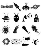 Space icons set Stock Photography