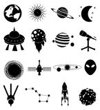 Space icons set Royalty Free Stock Image