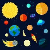 Space Icons set, cartoon style Royalty Free Stock Photos