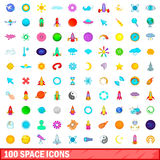 100 space icons set, cartoon style Stock Photo