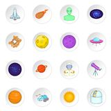 Space icons set, cartoon style Royalty Free Stock Photos