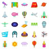 Space icons set, cartoon style. Space icons set. Cartoon set of 25 space icons for web isolated on white background Royalty Free Stock Images