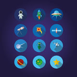 12 Space icons set. In cosmonaut, star, telescope royalty free illustration