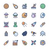 Space icons set of flat vector stock illustration