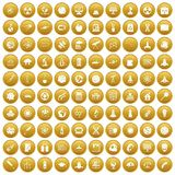 100 space icons set gold Royalty Free Stock Photography