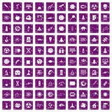 100 space icons set grunge purple Stock Images