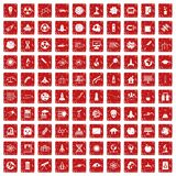 100 space icons set grunge red. 100 space icons set in grunge style red color isolated on white background vector illustration Royalty Free Stock Photos