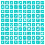 100 space icons set grunge blue. 100 space icons set in grunge style blue color isolated on white background vector illustration Royalty Free Stock Photos