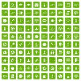 100 space icons set grunge green. 100 space icons set in grunge style green color isolated on white background vector illustration Royalty Free Stock Photos