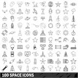 100 space icons set, outline style Royalty Free Stock Photos