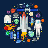 Space Icons Set with Planets Stars Shuttle and Astronaut Stock Photography