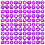 100 space icons set purple. 100 space icons set in purple circle isolated on white vector illustration Royalty Free Stock Image