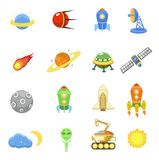 Space icons set of rocket  galaxy  planet ufo Royalty Free Stock Photography