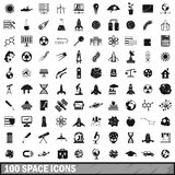 100 space icons set, simple style. 100 space icons set in simple style for any design vector illustration Stock Photos