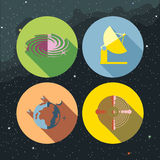 Space icons set with stars and galaxies Royalty Free Stock Image