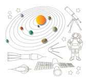 Space icons and solar system Stock Photography