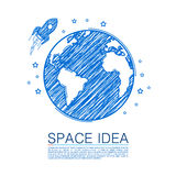 Space idea drawing on paper Royalty Free Stock Image