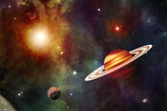 Space Illustration with Ringed Planet Stock Photography
