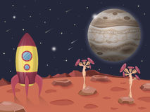 Space illustration with rocket on a background of the Jupiter planet, open cosmos, lots of stars and unusual plants. Space illustration with rocket on a Stock Photography