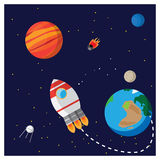 Space. Illustration space.It shows a rocket, planets, Mars, Earth, Neptune, Moon, artificial satellites and a comet and the trajectory of the rocket Stock Image