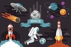 Space illustrations set royalty free illustration