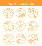 Space Illustrations. A set of illustrations on the theme of space Stock Photo