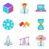 Space industry icons set, cartoon style Stock Photos