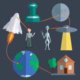 Space infographics set Royalty Free Stock Image