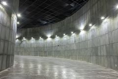 Space inside a building consisting of curves. stock photo