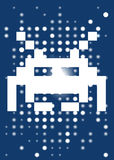 Space_invader. Space invader on the blue background. Vector illustration Royalty Free Stock Images