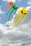 Space invader kites descending Royalty Free Stock Photos