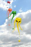 Space invader kites on line. Space invader kites in row on line Stock Images