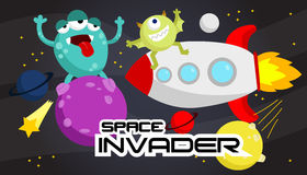 Space Invader. A many alien in space Royalty Free Stock Photos